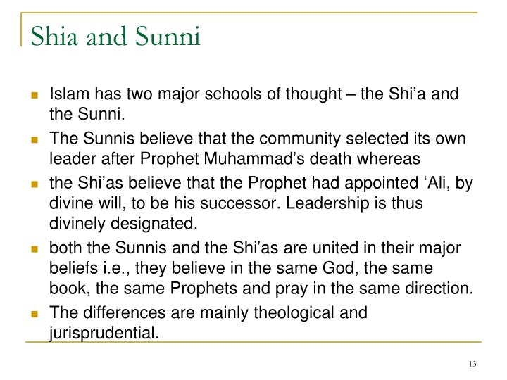 Shia and Sunni