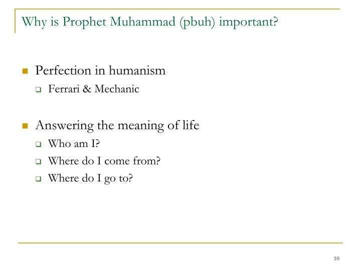 Why is Prophet Muhammad (pbuh) important?