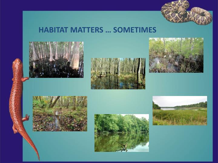 HABITAT MATTERS … SOMETIMES