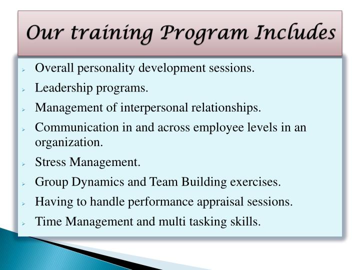 Our training Program Includes