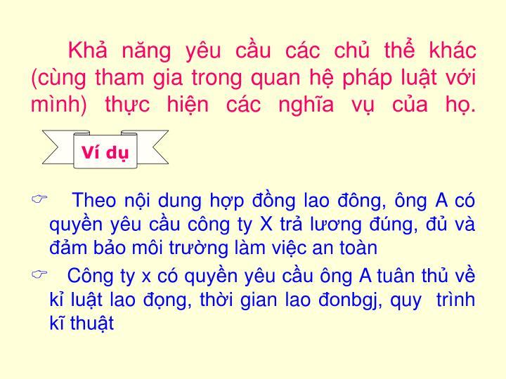 Kh nng yu cu cc ch th khc (cng tham gia trong quan h php lut vi mnh) thc hin cc ngha v ca h.