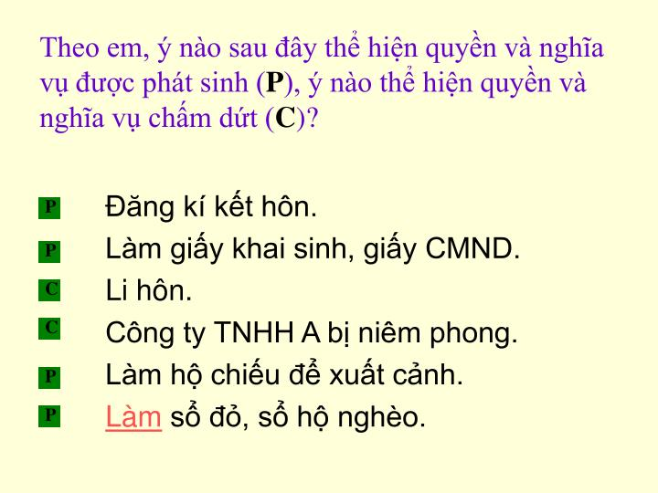 Theo em,  no sau y th hin quyn v ngha v c pht sinh (
