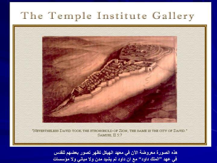 هذه الصورة معروضة الآن في معهد الهيكل تظهر تصور بعضهم للقدس