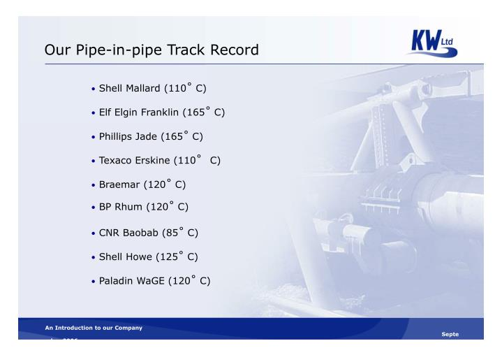 Our Pipe-in-pipe Track Record