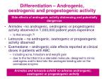 differentiation androgenic oestrogenic and progestogenic activity