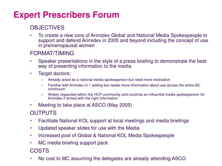 Expert Prescribers Forum