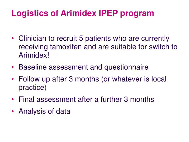 Logistics of Arimidex IPEP program