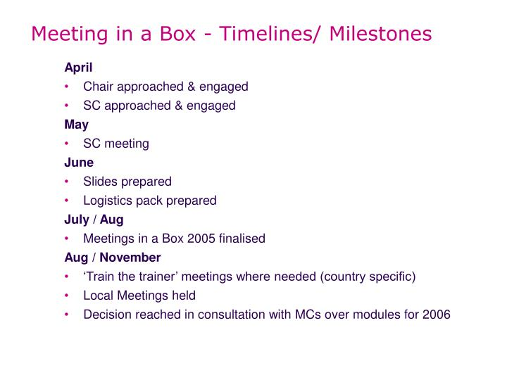 Meeting in a Box - Timelines/ Milestones