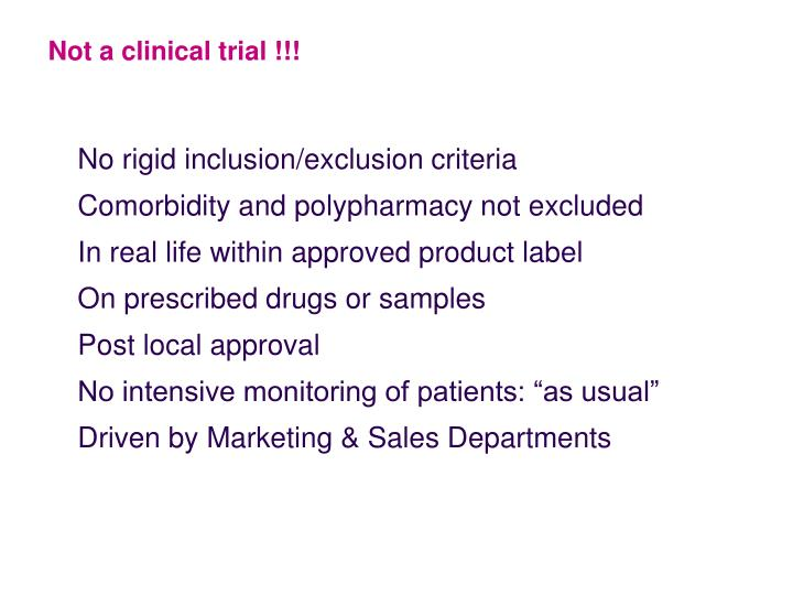 Not a clinical trial !!!