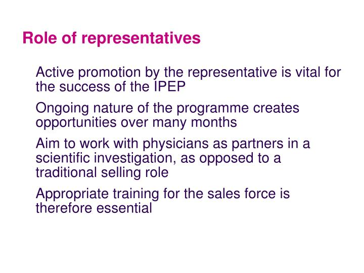 Role of representatives
