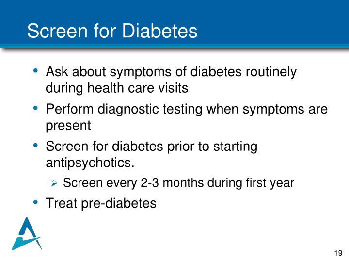 Screen for Diabetes