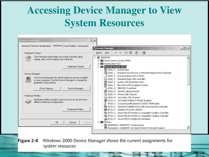 Accessing Device Manager to View System Resources
