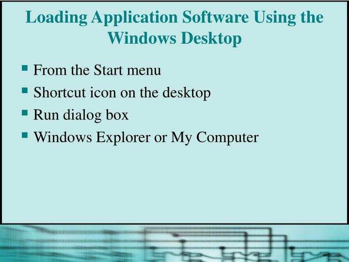 Loading Application Software Using the Windows Desktop