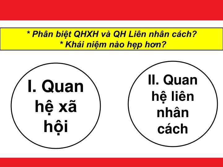 * Phân biệt QHXH và QH Liên nhân cách?