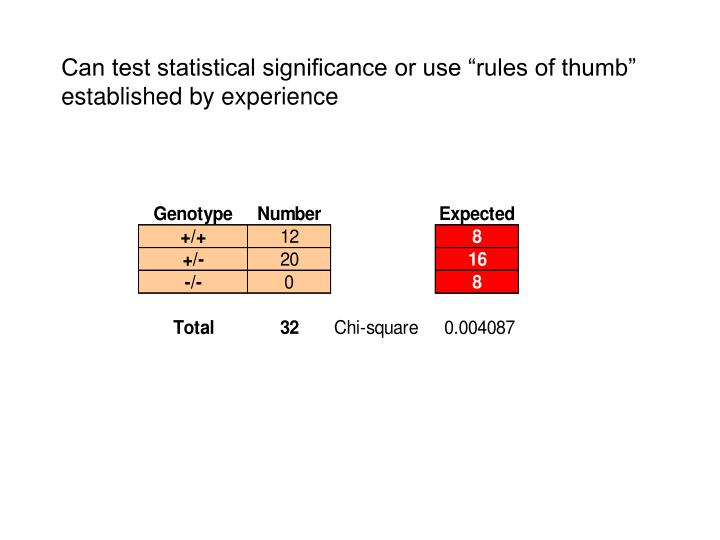 "Can test statistical significance or use ""rules of thumb"" established by experience"
