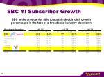 sbc y subscriber growth