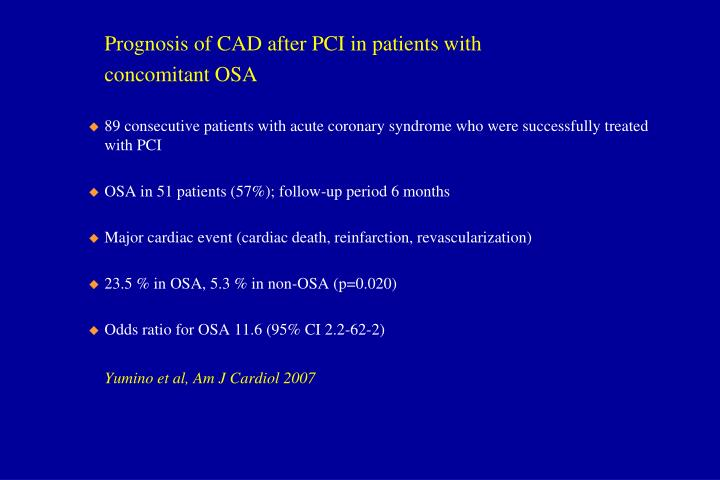 Prognosis of CAD after PCI in patients with