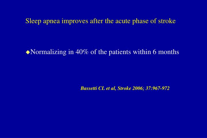 Sleep apnea improves after the acute phase of stroke