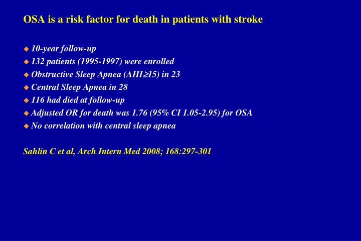 OSA is a risk factor for death in patients with stroke