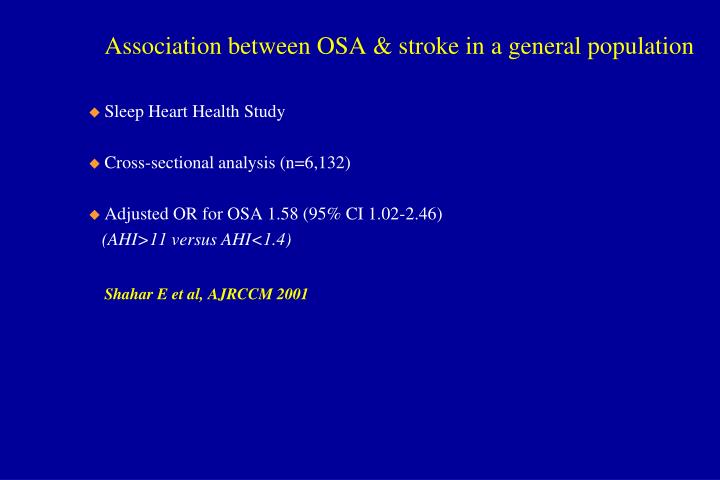 Association between OSA & stroke in a general population