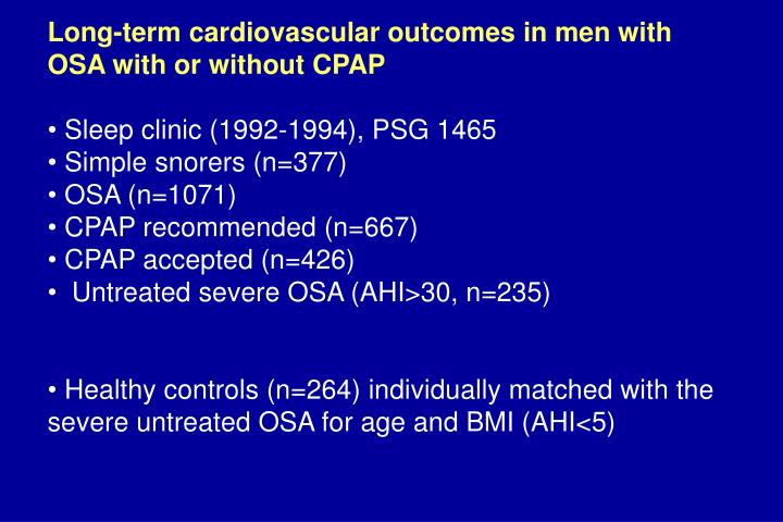 Long-term cardiovascular outcomes in men with OSA with or without CPAP