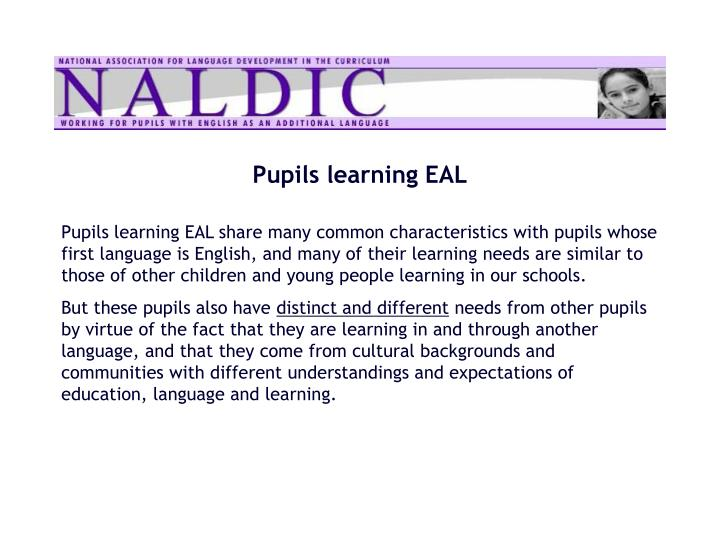 Pupils learning EAL