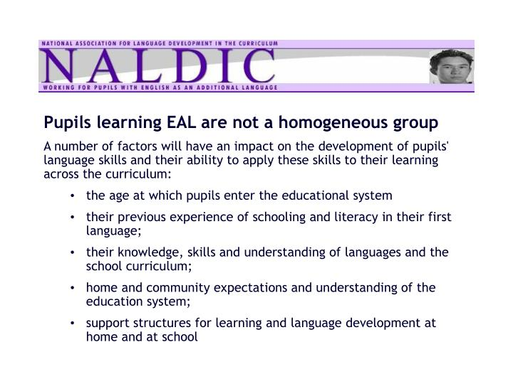 Pupils learning EAL are not a homogeneous group