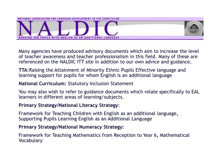 Many agencies have produced advisory documents which aim to increase the level of teacher awareness and teacher professionalism in this field. Many of these are referenced on the NALDIC ITT site in addition to our own advice and guidance.