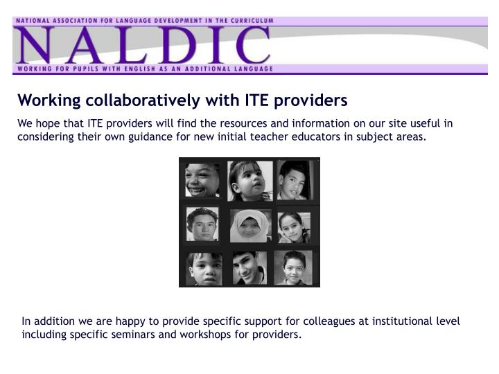 Working collaboratively with ITE providers