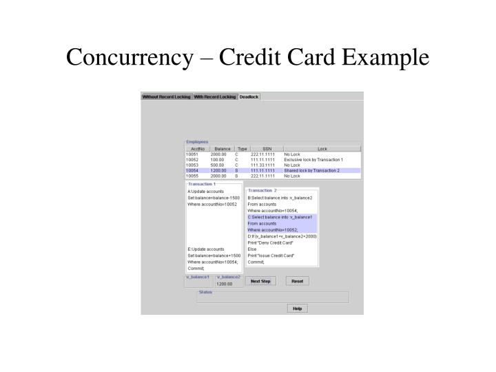 Concurrency – Credit Card Example