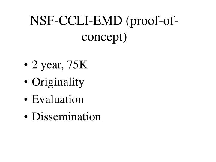 NSF-CCLI-EMD (proof-of-concept)
