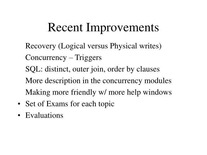 Recent Improvements