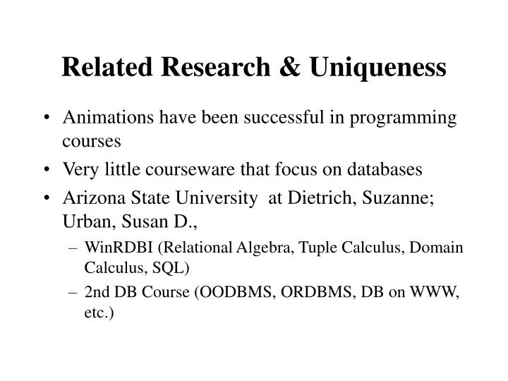 Related Research & Uniqueness