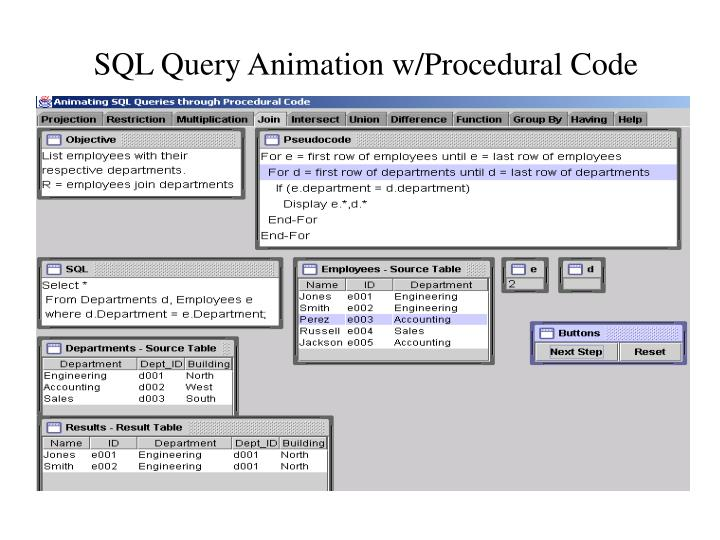 SQL Query Animation w/Procedural Code