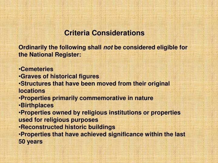 Criteria Considerations