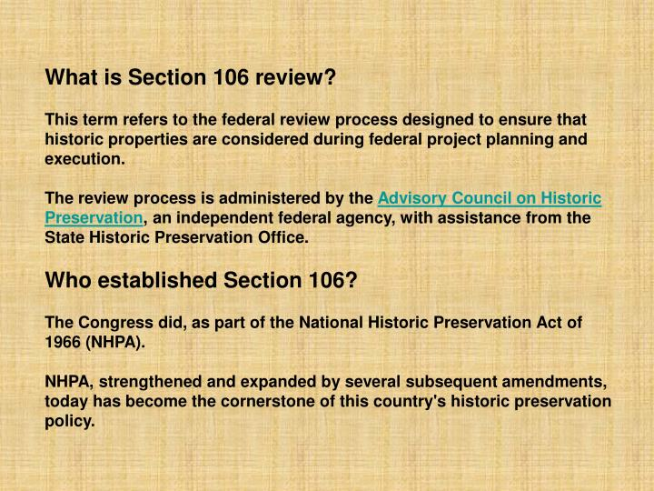 What is Section 106 review?