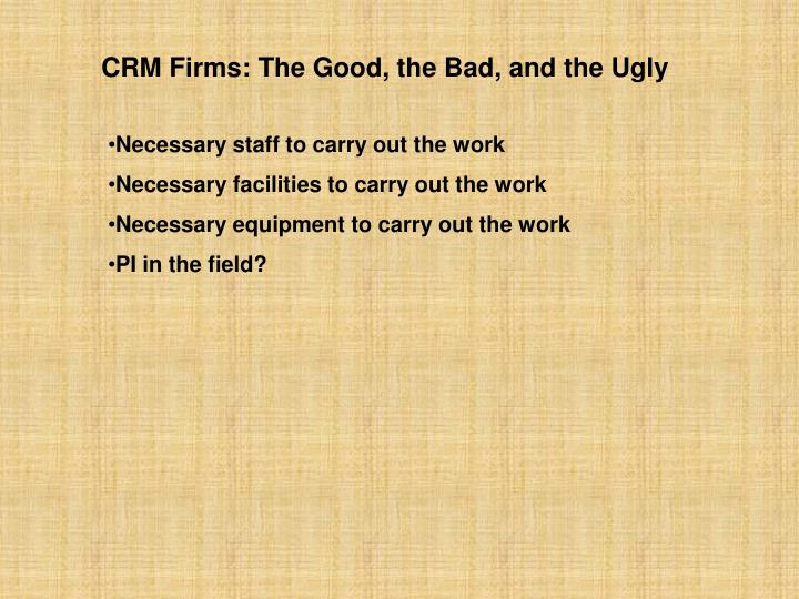 CRM Firms: The Good, the Bad, and the Ugly