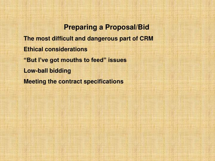 Preparing a Proposal/Bid