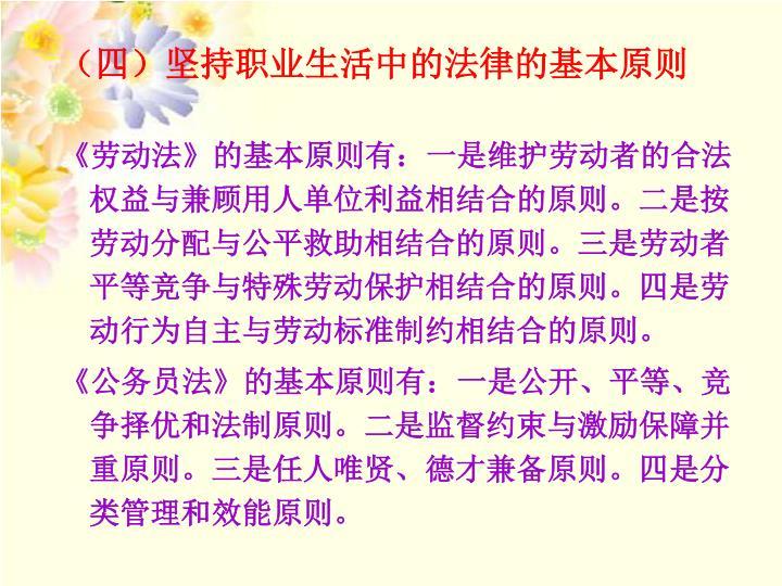 (四)坚持职业生活中的法律的基本原则