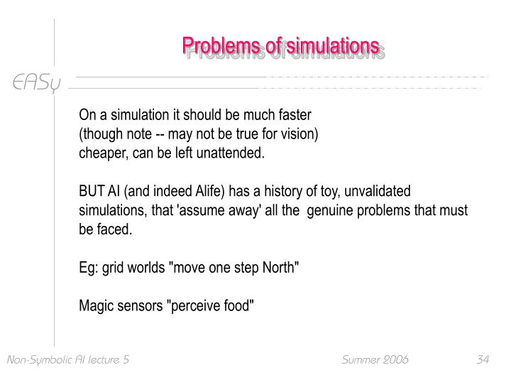 Problems of simulations