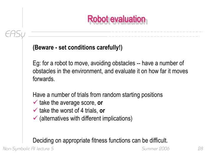 Robot evaluation