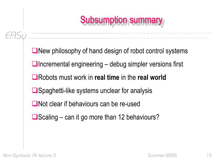 Subsumption summary