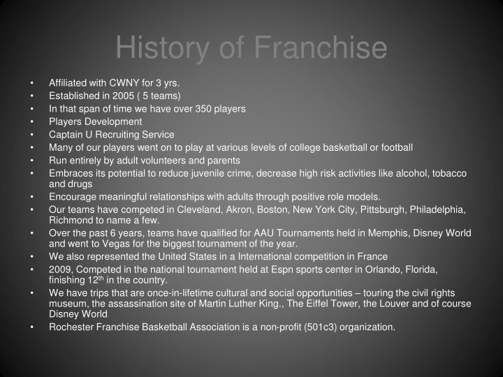 History of Franchise