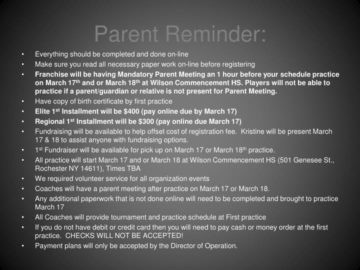 Parent Reminder: