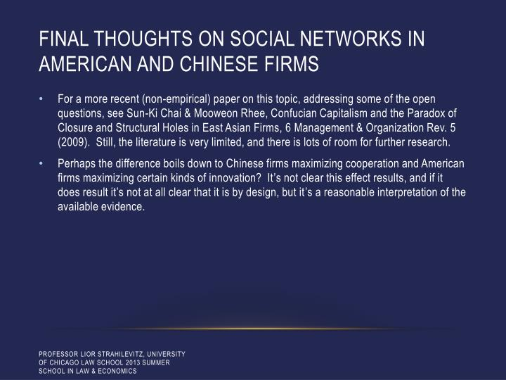 Final thoughts on social networks in