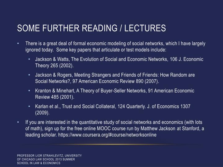 Some Further reading / lectures