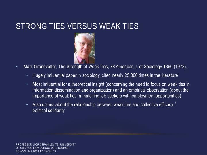 Strong ties versus weak ties