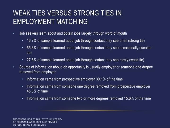 Weak ties versus strong ties in employment matching