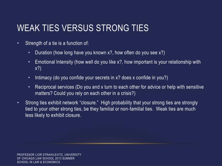 Weak ties versus strong ties