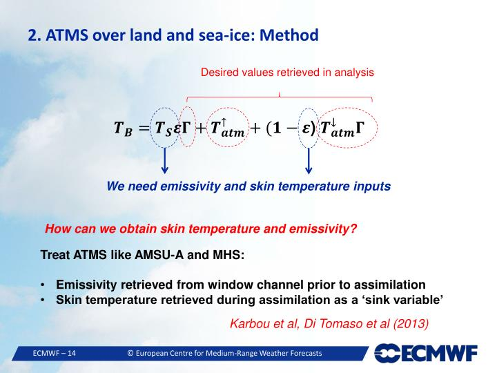 2. ATMS over land and sea-ice: Method